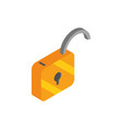 unlock secure social media isometric icon vector image