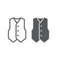 waistcoat line and glyph icon clothes and suit vector image
