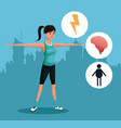 woman sports exercise healthy urban background vector image vector image
