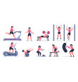 women at gym female sport fitness character vector image