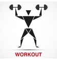 Workout logo with triangle man vector image vector image