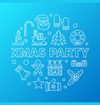 xmas party blue round outline vector image