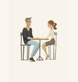 young man and woman at table vector image