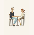 young man and woman at the table vector image