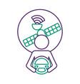 driver at steering wheel signal satellite design vector image