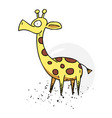 giraffe cartoon hand drawn image vector image