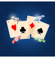 4 Aces on blue background vector image