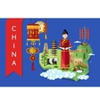 China landmarks and travel map on blue background vector image