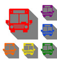bus sign set of red orange yellow vector image