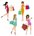 Shopping girl figures vector image