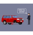 Worried driver calling roadside assistance to help vector image