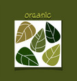 abstract simple design with green leaves organic vector image