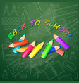 back to school card with multicolored pencils vector image