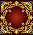 background frame red with golden pattern vector image