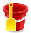 beach red bucket and yellow shovel childrens toy vector image