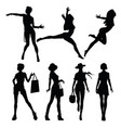 black silhouettes of beautiful women vector image vector image