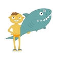 boy with inflatable shark vector image