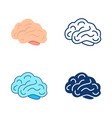 brain icon set in flat and line style vector image vector image