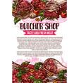 butcher shop sketch meat poster vector image vector image