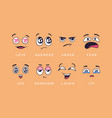 cartoon emotions love joy and anger sadness and vector image