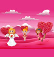 cartoon happy cupid mother with little fairy vector image vector image