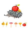 Cartoon hedgehog with apple on his back vector image