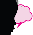 child with speech bubble silhouette vector image