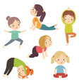 children doing yoga vector image