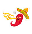 chili with sombrero for mexican food vector image vector image