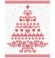 Christmas Ukrainian ornament red tree seaml vector image