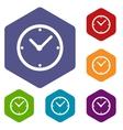 Clock rhombus icons vector image vector image
