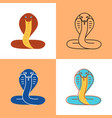 cobra snake icon set in flat and line styles vector image vector image