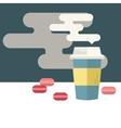 Coffee cup and macaroons with space for text vector image vector image