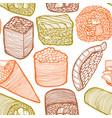 colored sushi pattern in hand drawn style vector image vector image