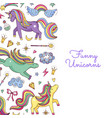 Cute hand drawn magic unicorns and stars