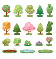 different game green tree bush and ground isolated vector image vector image