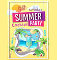 disco summer cocktail party poster vector image vector image