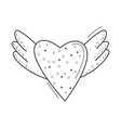 doodle black line heart with dots and wings vector image