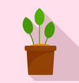 eco plant pot icon flat style vector image vector image