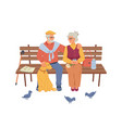 elderly people sitting on bench pigeons and dog vector image