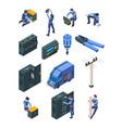 electrician working isometric people in uniform vector image