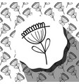 emblem with flower with leaves and rustic vector image vector image