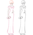 Fashion girl in long evening dress vector image