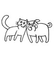 funny cat and dog isolated vector image