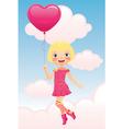 girl flying a balloon vector image vector image