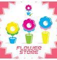 Gradient Flower Shop Icons vector image vector image