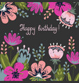 greeting card happy birthday hand drawing brush vector image vector image