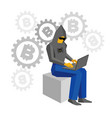 hacker sitting with laptop bitcoins signs behind vector image