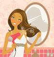 hairdryer woman vector image vector image