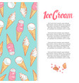 hand drawn ice cream cones banner design vector image